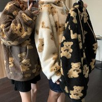 Korea Ulzzang Women Hoodies Sweatshirt Zipper Teddy Coat Harajuku Loose Kawaii Clothes big size Oversized Hoodie clothing 210608