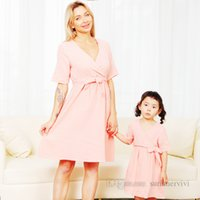 Family matching pajamas outfits girls V-neck Bows belt short sleeve nightgown women soft comfortable mother and daughter match sleepwear clothes Q0625
