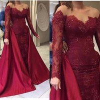 Burgundy Mermaid Evening Dresses With overskirt 2021 Arabic Sheer Neck Sequins Long Sleeves Prom Dress Satin And Lace Party Gowns