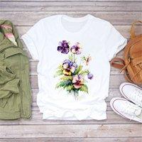 여름 숙녀 티셔츠 고품질 패션 트렌드 꽃 인쇄 라운드 넥 짧은 소매 캐주얼 느슨한 의류