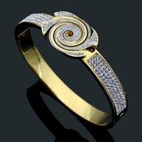 20 تصميم مزيج جودة عالية مصنع واسعة كبيرة 17 سنتيمتر الماس الإسورة ارتفع الذهب والفضة 316l الفولاذ الصلب زهرة الخامس الحب مجوهرات النساء أساور رجالي