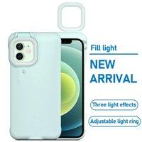 채우기 휴대폰 케이스 링 라이트 폰 커버 케이스 아이폰 12 Pro Max 11 Pro Max 7 8 Plus X XS 필 라이트 셀카 아름다움 링 플래시
