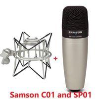 100% Original SAMSON C01 Condenser Microphone And SP01 Mount For Recording Vocals, Acoustic Instruments Drum Mic Microphones