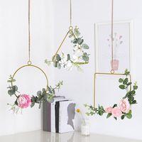 25*23cm Wedding Wreath Gold Iron Metal Ring Garland Easter Decor Artificial Flower Rack Party Backdrop Hoop Decorative Flowers & Wreaths
