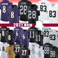 "8 Lamar Jackson Josh Jacobs Darren Waller Jersey Derek Carr Henry Ruggs III Las Baltimore ""Ravens"" Vegas ""Raiders"" Lewis Dobbins Humphrey Bo Jackson Crosby"