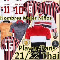 21/22 Sao Paulo Fussball Jerseys Camisa de Futebol Fans Spieler Version 2021 2022 São Paulo Dani Alves Pablo Pato Männer Wome Kids Kits Weste Torhüter Fußball Hemden