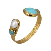 GuaiGuai Jewelry Natural White Keshi Pearl Green Amazonites Gold Color Plated Bangle Bracelet For Women Vintage Style