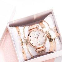 Designer luxury brand watches Fashion 5pcs Set Women es Magnet Buckle Flower Rhinestone Ladies Quartz Wrist Bracelet Reloj Mujer