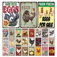 Oeufs frais métalliques en métal panneau agricole français Café Lait Maison Décor mural Vintage affiche Plaque d'étain Joyeux poulet PLAQUE 20X30CM Q0723
