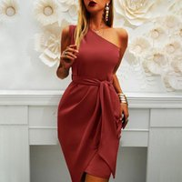 Casual Dresses One-Shoulder Solid Women's Dress 2021 Summer Lace Up Sleeveless Irregular Female Midi Ladies Sexy Club Party Vestidos