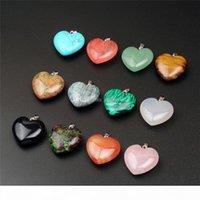 10 pz 24 * 25mm a forma di cuore a forma di cuore guarigione chakra perline di cristallo quarzo diy pietra di pietra a colori a colori preziose pendenti per collana orecchino gioielli