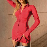 Casual Dresses 2021 Sexy Femme Birthday Outfits Ladies Vintage Clothing Button Bell Sleeve Slit Black Women's Tight Party One-Piece Shirt Dr