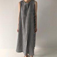 Casual Dresses Uego Black White Plaid Sleeveless Summer Dress Korea Design Holiday Girl's Prairie Chic Cotton Linen Women