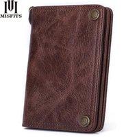 Wallets MISFITS Men Wallet Genuine Leather Fashion Clutch Brand Design Purses With Coin Pocket Card Holder Women Short Hasp Purse