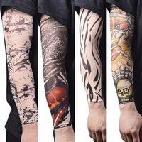 Gefälschte temporäre Tätowierungshülsen Full Arm Tattoos Wasserdichte Aufkleber auf Kopf Tatoo Sleeve Kit Männer Elastische Nylon Handschuh Tatoos