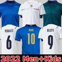 Itália Soccer Jersey 20 21 Verde Escuro 2021 Barella Chiellini Jorginho El Shaarawy Bonucci Insigne Bernardeschi Futebol Camisas Homens + Kit Kit uniformes