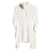 Twotwinstyle cadeia de patchwork de malha pullovers para mulheres gola de tartleneck flared colar oco out slim camisola feminina 2021 outono novo