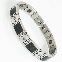 Link, Chain Men's Black Fiber Stainless Steel Cubic Zirconia Bracelets Women's Health Benefit Magnetic Therapy Wristband Male Jewelry Gifts
