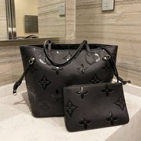 obenLvLouis Vitton Onthego 2 stücke Taschen Schulter Shopping Taschen 3D Relief Lady Luxurys Handtaschen Designer Geldbüken Frauen Mode Designer Crossbody Messenger Bag