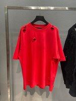 남성 플러스 티 패션 T 셔츠 파리 편지 인쇄 고품질 코튼 숙녀 짧은 소매 T- 셔츠 블랙 화이트 붉은 색 부러진 구멍 아트 디자인 스타일 EU 큰 크기