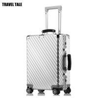 """Bavullar Seyahat Masalı 20 """"24"""" 29 """"inç Lüks Bavul Tolly Çanta Vintage Alüminyum Bagaj Tekerlekler"""
