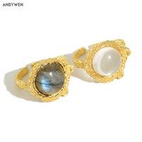 Andywen 925 Sterling Silver Gold Labradorite Gemstone Anelli regolabili Donne Fashion Rock Punk Grande grande anello gioielli partito 210608