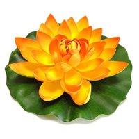 Flores decorativas guirnaldas B03D Lotus artificial flor de lirio realista almohadillas de lirio de agua para estanque acuario piscina peces tanque casa jardín boda diciembre