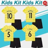Kinder Kit Fußball-Trikots # 29 Havertz # 10 Pulisic Away Gelb Fussball Jersey 21/22 Kind Fußball Hemd 2021/2022 # 7 kante # 11Werner Boy Football Uniformen