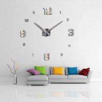 3d väggklocka Ny heminredning Stor Romerska Mirror Fashion DIY Modern Quartz Clocks Living Room Watch Wall Sticker X0705