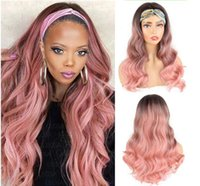 Long Body Wave With Headband Pink Wave Wig with Black root free Part