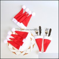 Decorations Festive Party Supplies & Garden10 Pcs Caps Cutlery Holder Spoon Pocket Christmas Decorative For Home Tableware Knife Fork Set Ha