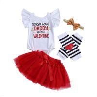 Valentine's Day Baby Girls Clothes Sets Letter Print Ruffles Short Sleeve Romper Lace Tutu Skirts Headband Leg Warm Clothing