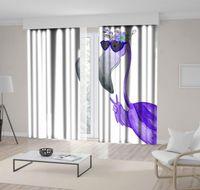 Curtain & Drapes Flamingo In Sunglasses And Floral Wreath Hello Summer Exotic Animal Fun Decorative Cartoon Artwork Purple Gray White