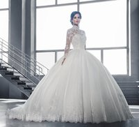 Sheer High collar Lace Long Sleeves Ball Gown Wedding Dresses Formal A Line Gowns Luxury Princess Illusion Appliques Bridal Country Vestidoe De Noiva
