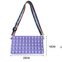 Fidget Toys Solid Color Push Bubble bags Shoulder Crossbody Messenger Bag Silicone Small Purse Handbags Sensory Antistress DHF10663