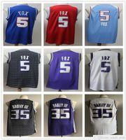 Homens costurados de'aaron 5 fox jerseys 2021 novo azul roxo branco preto vermelho 35 Marvin Bagley III Basquete College Shirts Rápido transporte