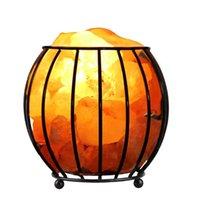Plug 220V frame de ferro natural de cristal salgada lâmpada de ar purificador de ar quarto de casa noite decoração luz himalaia lâmpadas LED