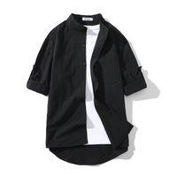 M-5XL الرجال regulae-صالح نصف كم الفرقة طوق القطن قميص الشارع الشهير زائد حجم الرجال نشفة الأكمام الصيف قمصان xxxxxl عارضة