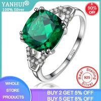 Cluster Rings YANHUI Fine Jewelry Created Nano Emerald Ring Silver 925 Trendy Natural Gemstone Party CZ Engagement For Women