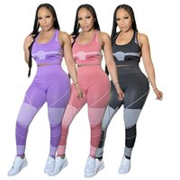 Women Tracksuits 2 piece set summer fall clothes yoga wear cycling t-shirt pants sportswear pullover sleeveless leggings outfits crop top vest bodysuits gym 01610