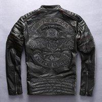 Fábrica 2018 novo homens retrô vintage couro ciclista jaqueta bordado crânio padrão preto magro apto homens inverno motocicleta casaco t5in #