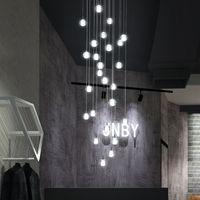 Kolye Lambaları Modern Basit Cam Top LED Avize Kapalı Villa Oturma Odası Merdiven Aydınlatma Lobisinde Clubhouse Dekor Asılı Işıklar