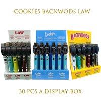 2021 Cookie Cookie Backwoods Law Twist Предварительно нагрева VV Батарея 900 мАч Нижнее напряжение Регулируемое USB Зарядное устройство Vape Pen 30 шт. С дисплейным ящиком EGO