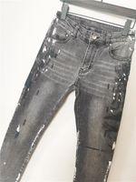 Estilo de otoño Diseñador Jeans Marca famosa Hombres Lavado Diseño Casual Slim Verano Slim-Leg Jeans Stretch Skinny Jeans Straight Biker Flaco