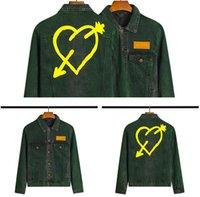 Мужчины и женский пиджак Palm a Deserter Green Love Print Denim Cousssit Palmsss сердца пирсинг стрелка джинсовые куртки ангелы промывают зеленую верхнюю одежду