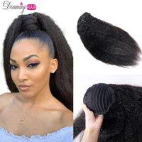 Clip recto en extensiones humanas italiano yaki cordón Remy Brasileño cabello Kinky Ponytail