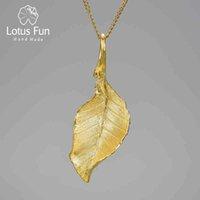 Lotus Fun Vintage Luxury 18K Guld Elegant Höst Långa Blad Hängsmycke Halsband för Kvinnor Sterling Silver 925 Smycken 2021 Trend