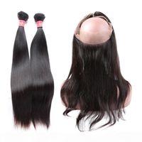 Greatremy Brezilyalı saç demetleri ile 360 dantel frontal kapatma 22 * 4 * 2 düz ücretsiz orta 3 parça ayarlanabilir tam dantel saç bakire saç