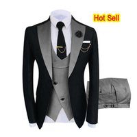 Men's Suits & Blazers Luxury Party Stage Groomsmen Costume Homme Mariage Clothing Tuxedo 3 Peice Set Jacket+Pants+Vest Wedding Men