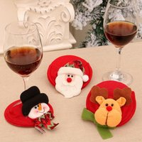 NEWChristmas Ornaments Red Wine Coaster Christmas Wine Glass Foot Cover Table Decoration For Xmas Gifts GWB11096